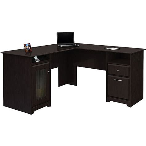 Corner Desk At Walmart Bush Cabot L Shaped Computer Desk Espresso Oak Walmart