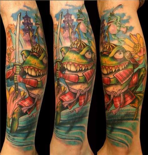 tattoo cartoon style รอยส ก จ นตนาการ ขา ซาม ไร กบ โดย ed perdomo
