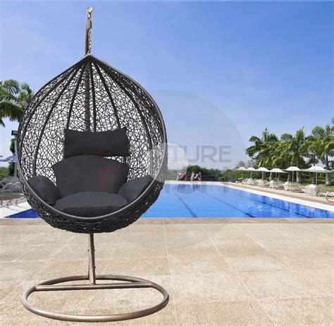 large outdoor wicker rattan free standing hanging egg hanging egg chair rattan wicker outdoor furniture black