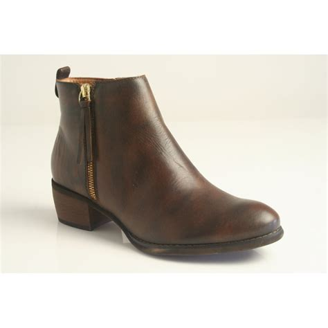 Ankle Zip by Pikolinos Pikolinos Brown Leather Zip Up Ankle Boot With