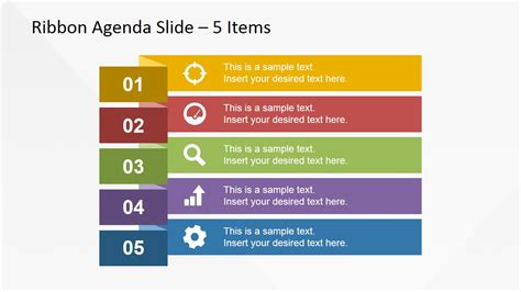 agenda powerpoint template 5 items ribbon agenda slide template for powerpoint