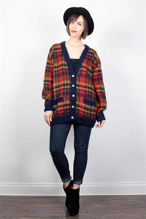 Sweater Ak Sweater Wanita Babyterry Navy 6 vintage 80s plaid sweater mustard gold navy blue plaid oversized cardigan knit jumper preppy