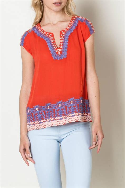 Orange Chain Dress M L 18289 1 thml clothing embroidered detail top from by ruebird market shoptiques