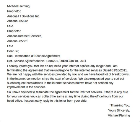 Letter Of Agreement For Service Sle Termination Letters 8 Termination Of Services