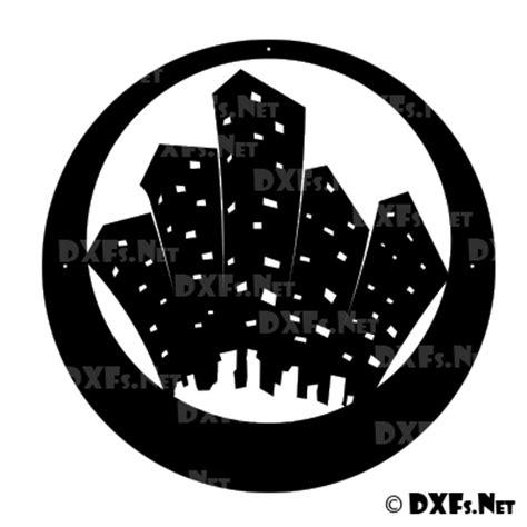 dxf city scape silhouette cnc dxf file