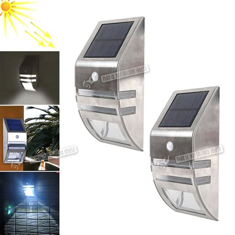 Solar Powered Front Door Light 2 Led Solar Power Rechargeable Pir Motion Sensor Security Light Shed Front Door Ebay