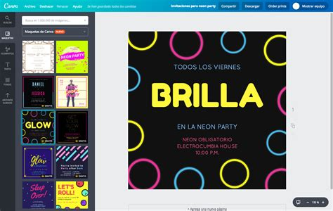 canva gratis dise 241 a invitaciones para neon party online gratis canva