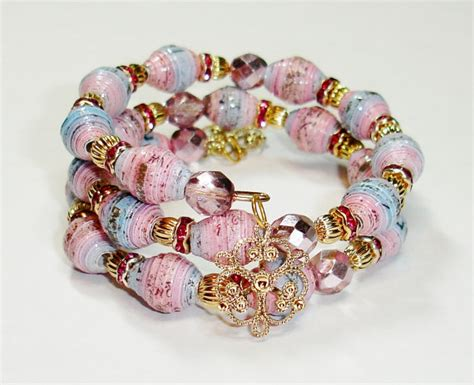 Handmade Jewelry And Accessories - paper bead bracelet memory wire handmade jewelry accessories