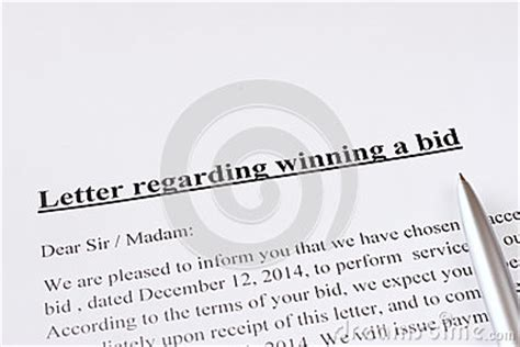 bid stock letter regarding winning a bid or auction business or