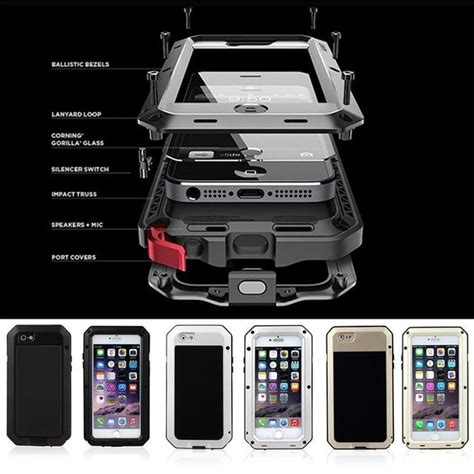 metal extreme shockproof military heavy duty tempered glass cover case skin  iphone
