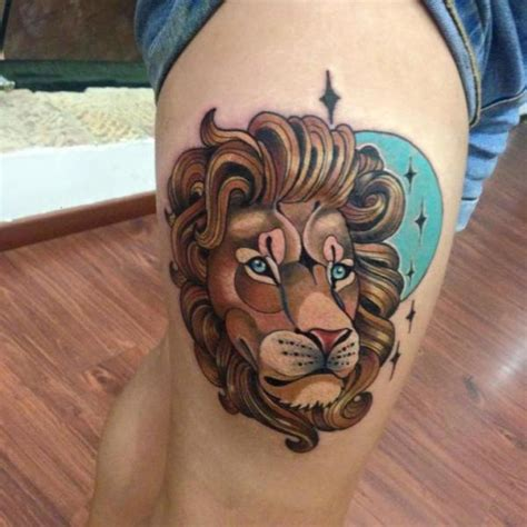 new lion thigh tattoo by fontecha iron
