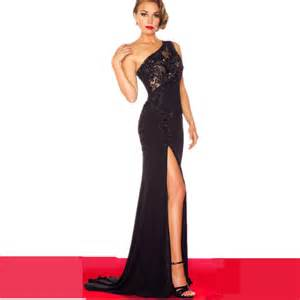 Tight Black Formal Dress Side Slit Black Prom Dress One Shoulder Tight Stretch