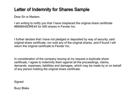 Bank Letter Of Indemnity Letter Of Indemnity