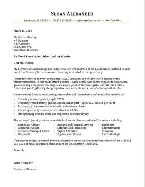 event coordinator cover letter sample monstercom