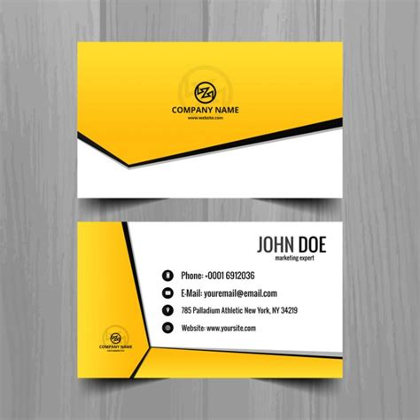 yellow business card template free yellow geometric business card template vector free