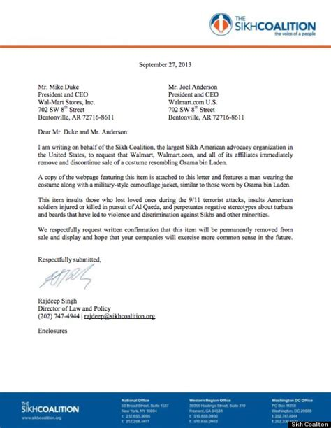 Complaint Letter Sle To Walmart Turban Beard Costume Removal Demanded By Sikh Coalition In Letter To Walmart And
