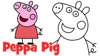 draw peppa pig characters step step easy drawing kids
