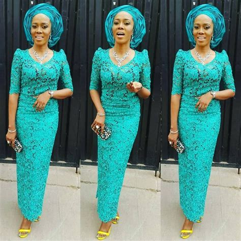 Lace Shabi Blue aso ebi styles with cord lace