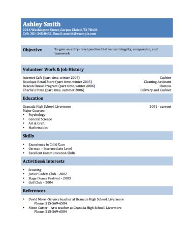 Resume For Teenager With No Job Experience by 12 Free High Student Resume Examples For Teens