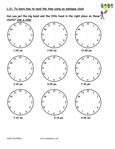 reading analogue clocks solve time word problems by