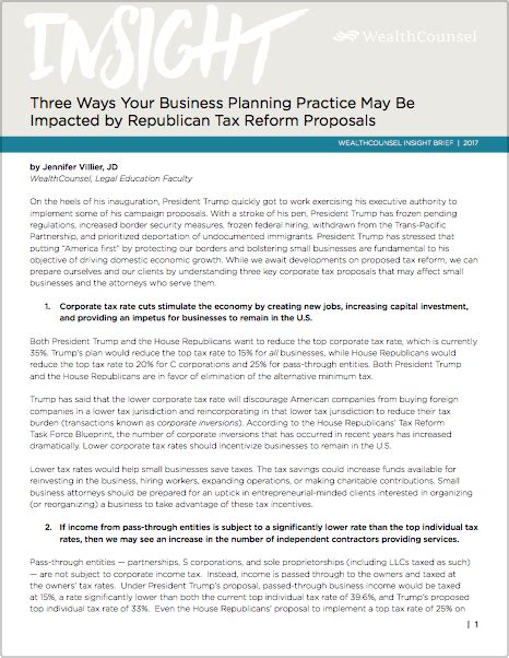 Trump Tax Reform | three ways your business planning practice may be impacted