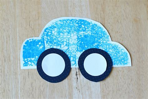 Car Paper Craft - paper car craft for using sponge painting buggy and