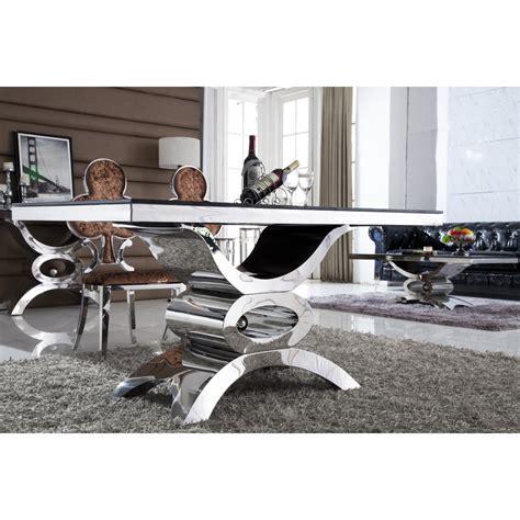 table de salle 224 manger en inox et verre marbre jaipur