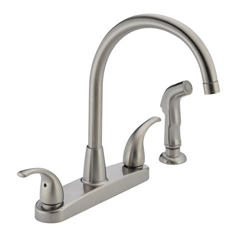 delta faucet p299578lf choice 2 handle side sprayer kitchen faucet atg stores