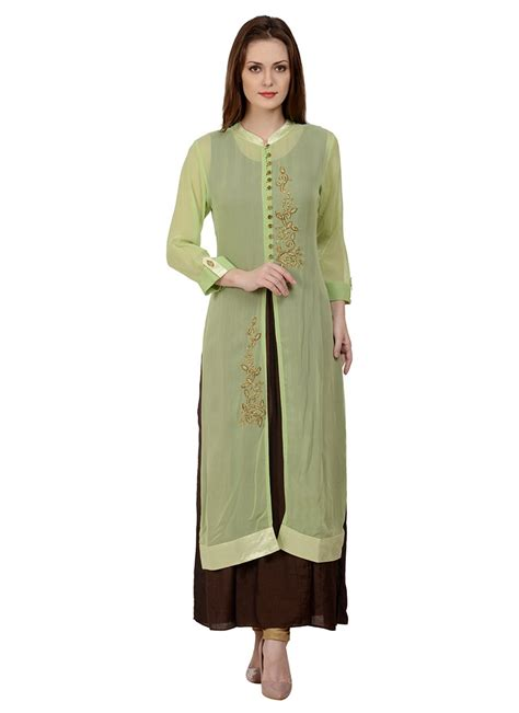 jacket pattern kurti online buy green n brown georgette jacket style kurti long kurti