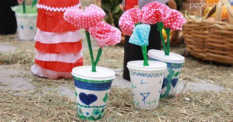 Flores Vasos De Plastico De Cafe Papel Macetas Manualidades Dia De La | 7 manualidades infantiles d 237 a de la cruz papelisimo