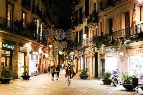night  el born barcelona editorial stock image image