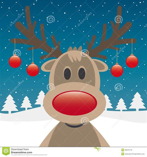 reindeer red nose and christmas balls stock illustration