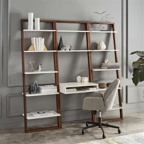 Ladder Shelf Desk Wide Bookshelf Set West Elm Ladder Desk With Shelves