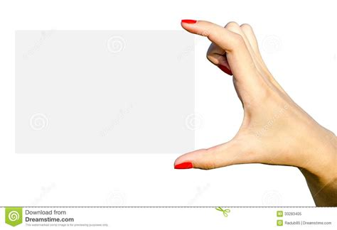 young hand holding blank white card royalty free