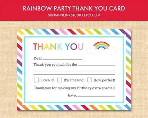 printable birthday cards rainbow rainbow birthday party fill in blank thank you card
