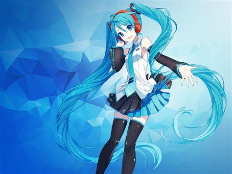 film anime hatsune miku wallpaper hatsune miku anime girl polygons blue 4k