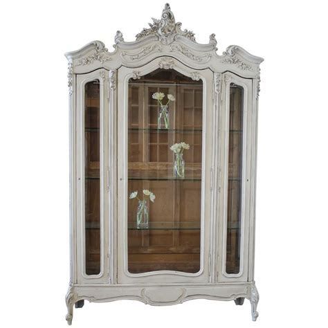 display armoire 19th century louis xv style painted french curio display