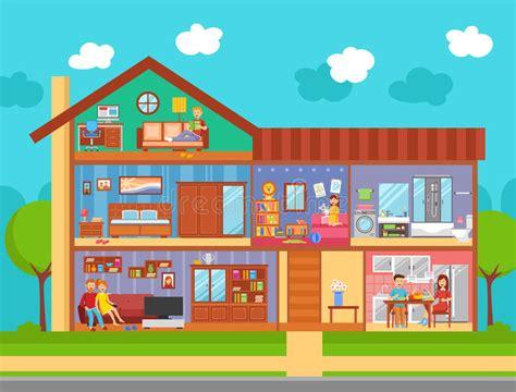 family home interior design concept stock vector