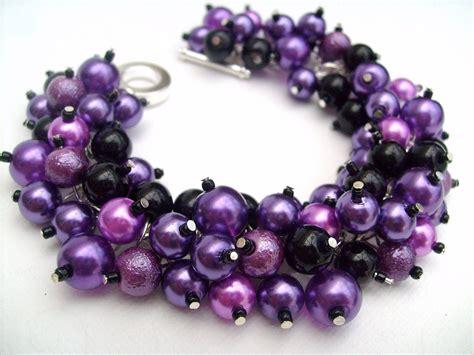 purple beaded bracelet bridesmaid jewelry purple and black pearl beaded bracelet