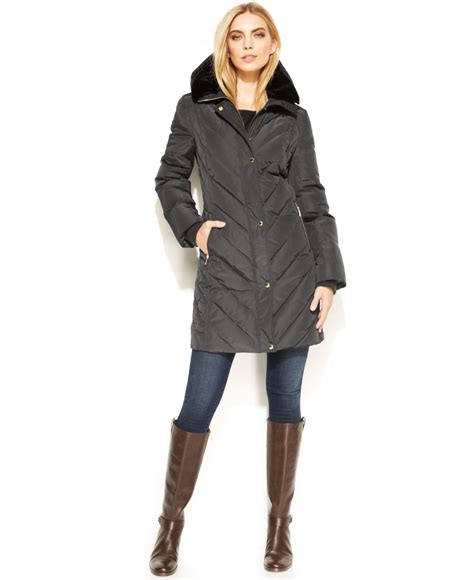 Michael kors Michael Petite Hooded Quilted Parka in Gray
