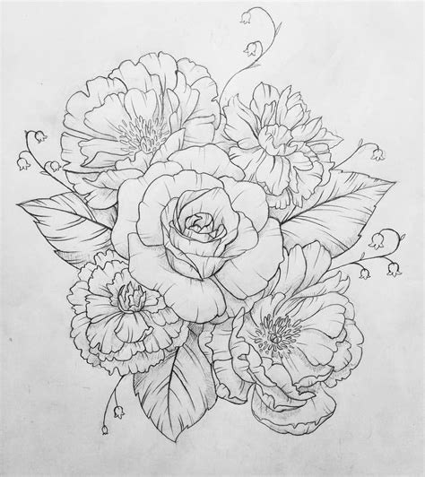 carnation and rose tattoos another one done peonies carnations and a single
