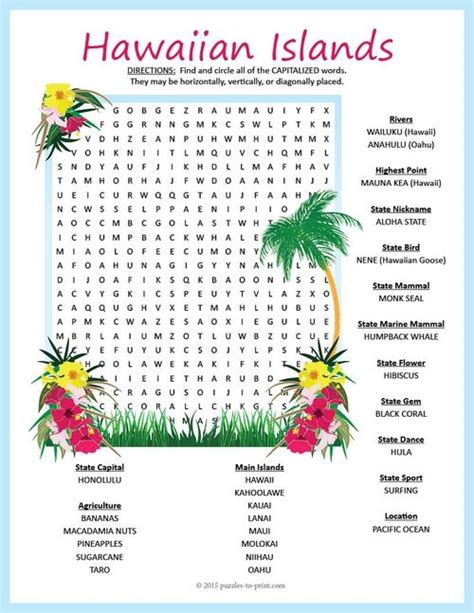 Free Search Hawaii Hawaii Geography Word Search Puzzle We Word Search And Geography