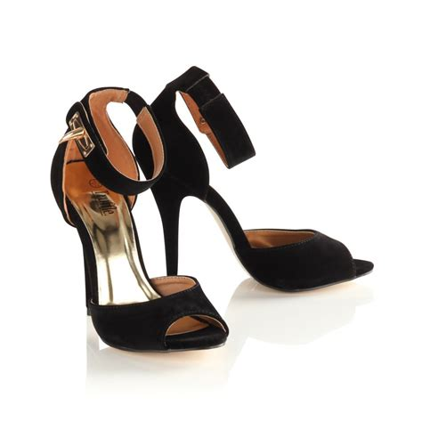 black heeled sandals with ankle womens black ankle heeled sandals