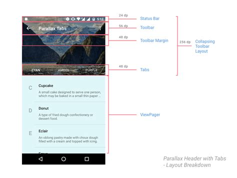 android layout overlapping views parallax scrolling tabs with android design support library