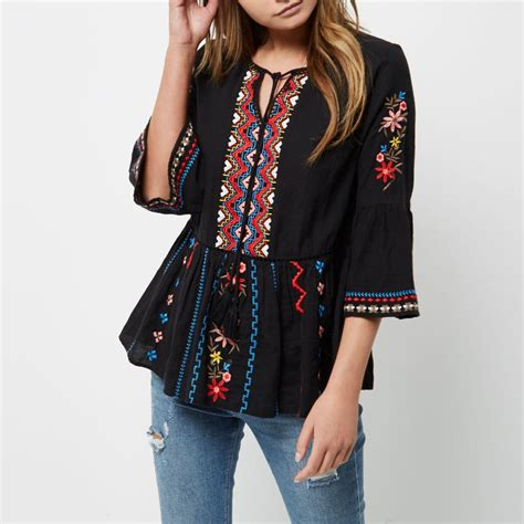 River Island Mint Smock by Lyst River Island Black Embroidered Bell Sleeve Smock