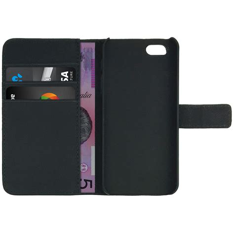 Wallet Card Iphone leather wallet for apple iphone se 5s black