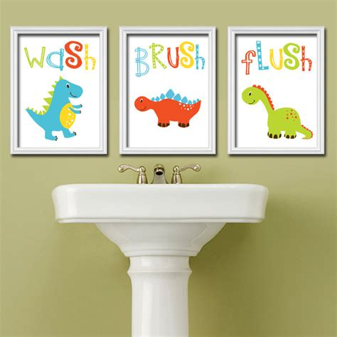 wall decor for bathroom ideas dinosaur bathroom wall art canvas or prints dino bath wash