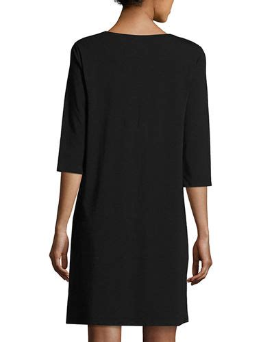 Sleeve V Neck Shift Dress eileen fisher 3 4 sleeve v neck jersey shift dress
