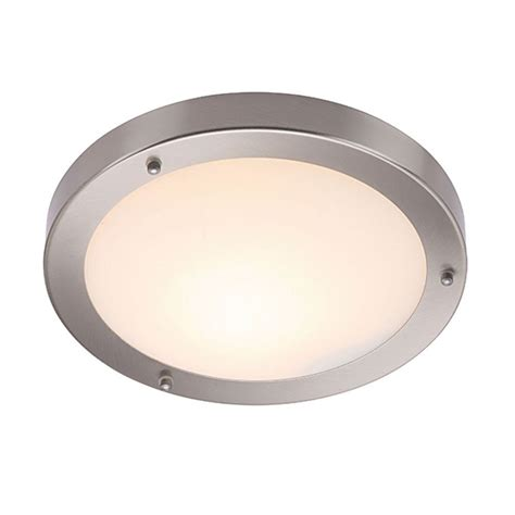 How To Fit A Ceiling Light Saxby 12421 Portico Satin Nickel Dimmable Flush Fit Bathroom Ceiling Light Ip44