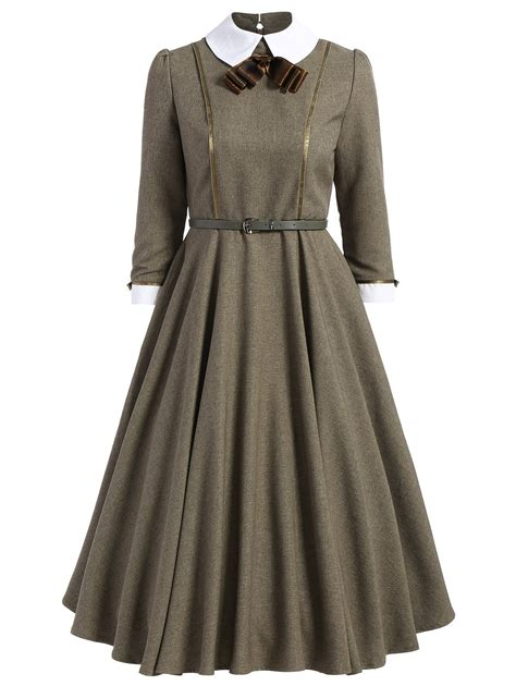A Line Collared Dress 2018 a line collared midi dress khaki s in vintage dresses